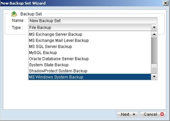 Tạo Backup set hỗ trợ sao lưu và phục hồi Windows Bare-Metal