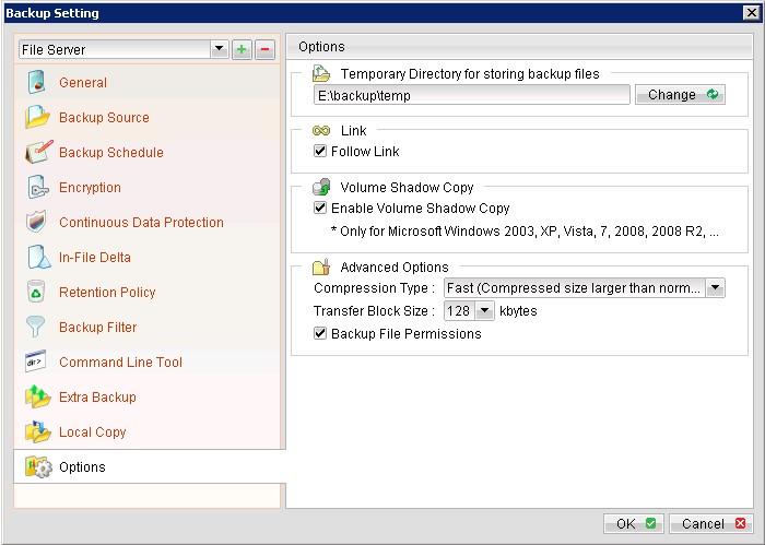 Hỗ trợ sao lưu Open file, Locked file