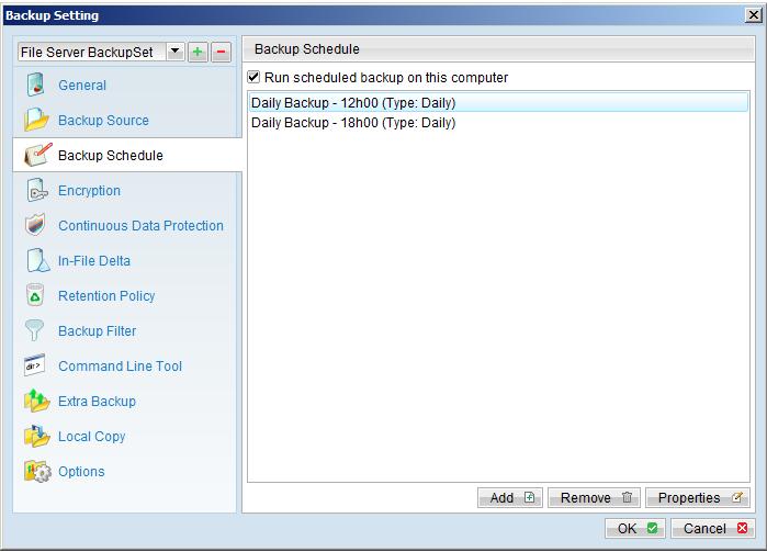 Các thuộc tính của Backup Set
