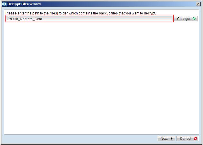Phục hồi tại chỗ với tính năng Decrypt Files Wizard
