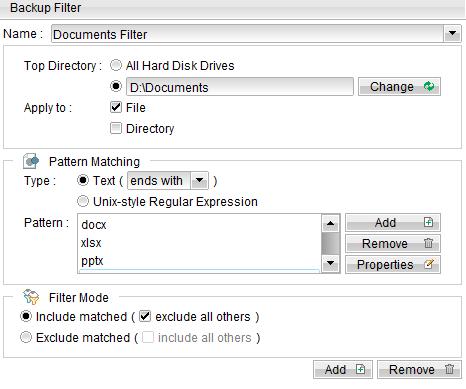 Bộ lọc dữ liệu - Backup Filter