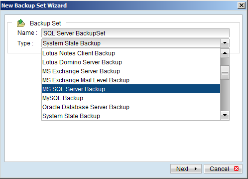 zBackup OBM hỗ trợ nhiều dạng Backup Set khác nhau