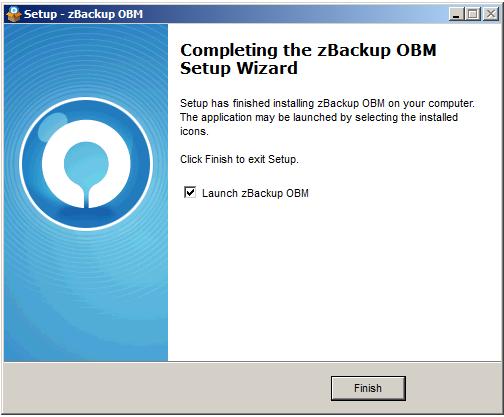 Quá trình cài đặt zBackup OBM hoàn tất